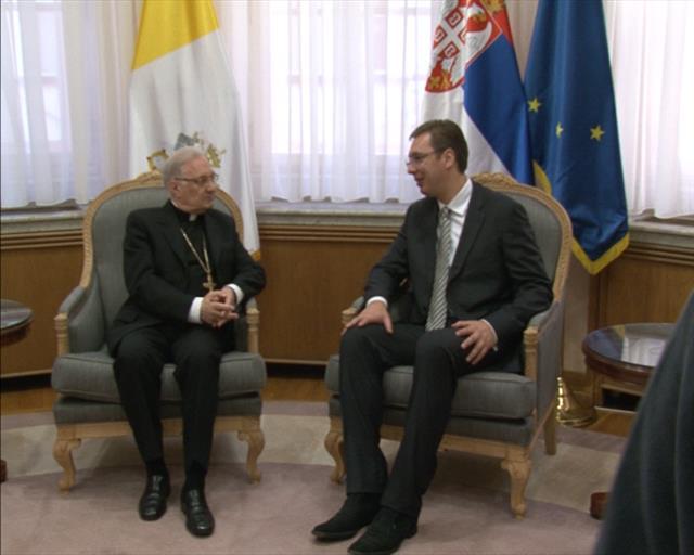 Papal Nuncio Orlando Antonini and Aleksandar Vucic